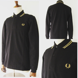 FRED PERRY(フレッドペリー)/ロングスリーヴラインポロシャツ(M7115) Black x Champagne -送料無料-