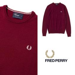FRED PERRY(フレッドペリー)/クラシッククルーネックセーター(K7211) Dark Red -送料無料-