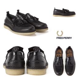 FRED PERRY(フレッドペリー) x GEORGE COX(ジョージコックス)/タッセルローファー(Perf Leather) Black -送料無料-