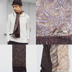 Original John(オリジナルジョン)/スカーフ(JOHN'S SCARVES) Navy x Brown Paisley