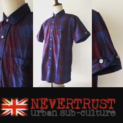 NEVERTRUST(ネバートラスト)/チェックラウンドカラーシャツ Blue x Wine -送料無料-