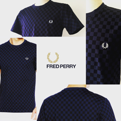 FRED PERRY(フレッドペリー)/チェッカーボードプリントTシャツ(M1560) French Navy