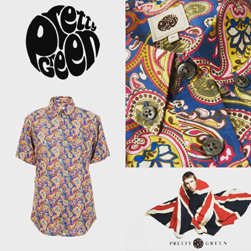PRETTY GREEN(プリティーグリーン)/ヴィンテージペイズリーボタンダウンシャツ Vintage Paisley -送料無料-