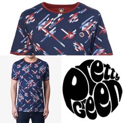 PRETTY GREEN(プリティーグリーン)/プリントクルーネックTシャツ(KIRBY) Blue