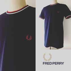 FRED PERRY(フレッドペリー)/ツインティッピングTシャツ(M1588) Carbon Blue