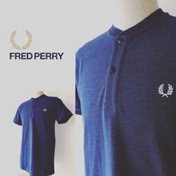 FRED PERRY(フレッドペリー)/カノコヘンリーネックTシャツ(M2535) Medieval Blue x Black Oxford