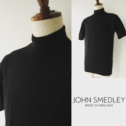 OHN SMEDLEY(ジョンスメドレー)シーアイランドコットンモックネック(S3813) Black-送料無料-