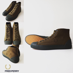 FRED PERRY(フレッドペリー)/スニーカー(HUGHES MID SHWR RESISTANT CANVAS) Dark Olive -送料無料-