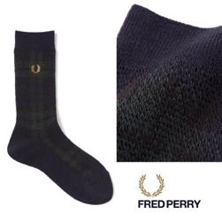 FRED PERRY(フレッドペリー)/タータンミドルソックス(F19842) Navy