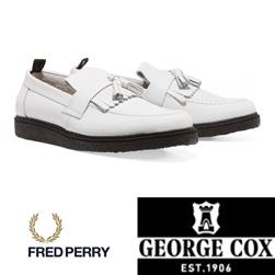 FRED PERRY フレッドペリー x GEORGE COX ジョージコックス / タッセルローファー White -送料無料-