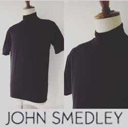 JOHN SMEDLEY ジョンスメドレー / シーアイランドコットンモックネック(S3813) Black -送料無料-