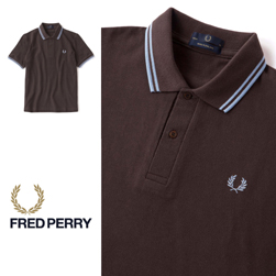 FRED PERRY フレッドペリー / ラインポロシャツ(M12N) Chocolate x Ice x Ice -送料無料-