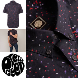 PRETTY GREEN プリティーグリーン / ドットプリントボタンダウンシャツ(OWLSEY) Black -送料無料-