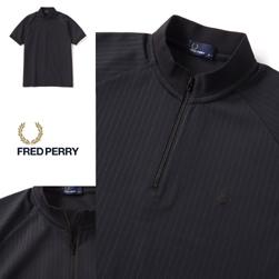 FRED PERRY フレッドペリー / ピンストライプジップネックシャツ(F1677) Black -送料無料-
