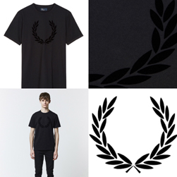 FRED PERRY フレッドペリー / フロッキープリントリンガーTシャツ(M3520) Black
