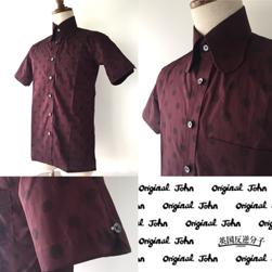 Original John(オリジナルジョン)/ポルカドットビーグルカラーシャツ(SHBC271) Burgundy