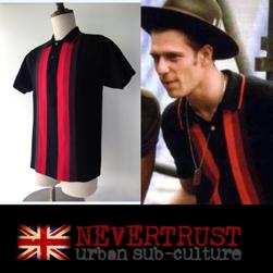 NEVERTRUST ネバートラスト / マルチストライプニットポロシャツ Black