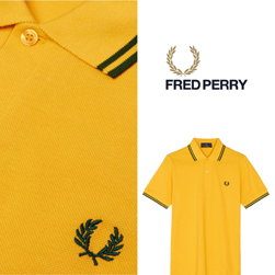 FRED PERRY フレッドペリー / ラインポロシャツ(M12N) Maize x Tartan Green -送料無料-
