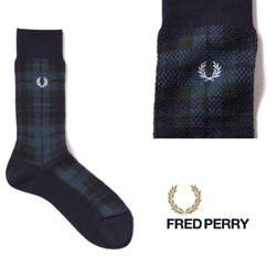 FRED PERRY フレッドペリー / タータンミドルソックス(F19887) Navy