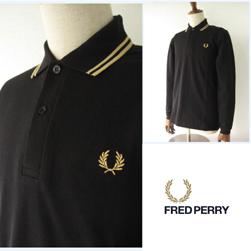 FRED PERRY フレッドペリー / ロングスリーヴラインポロシャツ(M7115) Black x Champagne -送料無料-