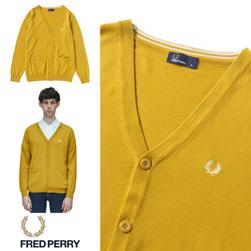 FRED PERRY フレッドペリー / Vネックカーディガン(F3192) Mustard -送料無料-