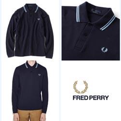 FRED PERRY フレッドペリー / ロングスリーヴラインポロシャツ(M7115) Navy x Ice -送料無料-