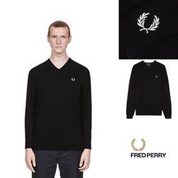 FRED PERRY フレッドペリー / クラシックVネックセーター(K4500) Black -送料無料-