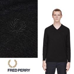FRED PERRY フレッドペリー / クラシックVネックセーター(K4500) Black Marl -送料無料-