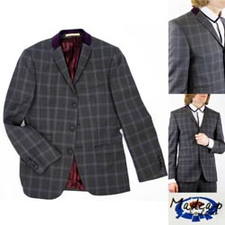 MADCAP ENGLAND マッドキャップイングランド / 60s モッド チェックテーラードジャケット Grey x Purple -送料無料-