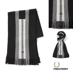 FRED PERRY フレッドペリー / ブロックストライプラッセルマフラー(C4110) Black x Steel