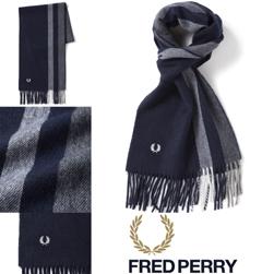 FRED PERRY フレッドペリー / ティップドスカーフ(C4111) Navy x Mix Grey
