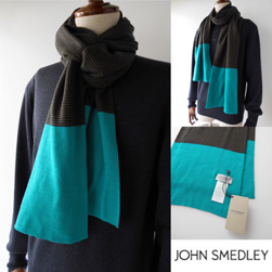 JOHN SMEDLEY ジョンスメドレー / メリノウールスカーフ(GERMAIN STRIPE) Orion Green -送料無料-