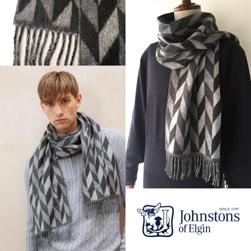 Johnstons ジョンストンズ / メリノカシミヤスカーフ(WB001517) Charcoal Grey -送料無料-