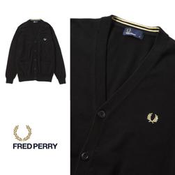 FRED PERRY フレッドペリー / Vネックカーディガン(F3199) Black -送料無料-