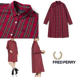 FRED PERRY フレッドペリー / レディースタータンチェックシャツドレス (F8473) Red -送料無料-