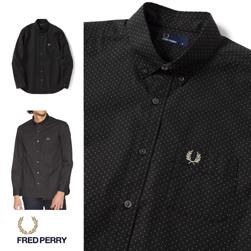 FRED PERRY フレッドペリー / ドットボタンダウンシャツ (F4499) Black -送料無料-