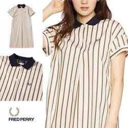 FRED PERRY フレッドペリー / レディースストライプポロドレス (F8472) Off White -送料無料-