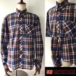 NEVERTRUST ネバートラスト / トラッドチェックボタンダウンシャツ Navy x Brown -送料無料-