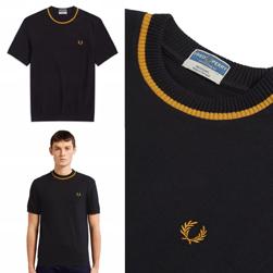 FRED PERRY フレッドペリー / クルーネックピケTシャツ (M5) Black x Gold -送料無料-