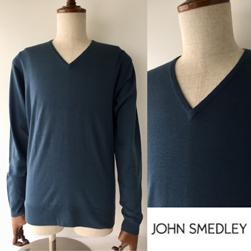 JOHN SMEDLEY ジョンスメドレー / メリノウールVネックセーター(KENDAL) Brando Blue -送料無料-