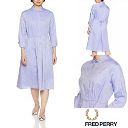 FRED PERRY フレッドペリー / レディースバックプリーツシャツドレス (F8471) Saxe Blue -送料無料-