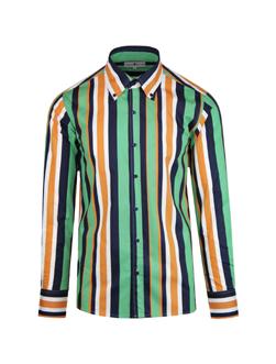 MADCAP ENGLAND マッドキャップイングランド / レトロ60sモッド トリップストライプボタンダウンシャツ Green x Black -送料無料-