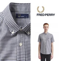 FRED PERRY フレッドペリー / ギンガムチェックボタンダウンシャツ (F4506) Navy -送料無料-