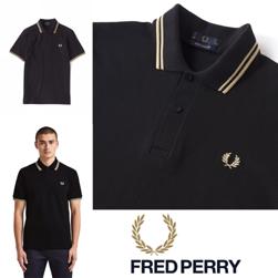 FRED PERRY フレッドペリー / ラインポロシャツ(M12N) Black x Champagne x Champagne -送料無料-