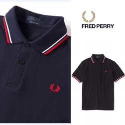 FRED PERRY フレッドペリー / ラインポロシャツ(M12N) Navy x White x Red -送料無料-