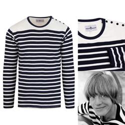 MADCAP ENGLAND マッドキャップイングランド / 60sモッド ブルトンストライプTシャツ(LE BEAT) Navy x White