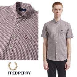 FRED PERRY フレッドペリー / ギンガムチェックボタンダウンシャツ (F4506) Maroon -送料無料-