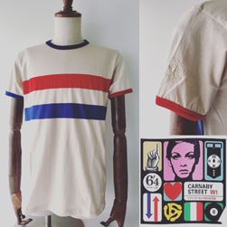 MADCAP ENGLAND マッドキャップイングランド / レトロモッドチェストストライプTシャツ(BEDFORD) Winter White