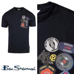 Ben Sherman ベンシャーマン / ノーザンソウルワッペンプリントTシャツ Dark Navy