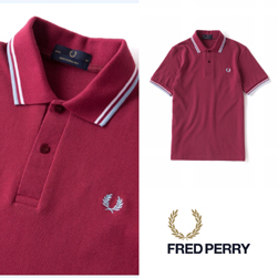 FRED PERRY フレッドペリー / ラインポロシャツ(M12N) Maroon x White x Ice -送料無料-
